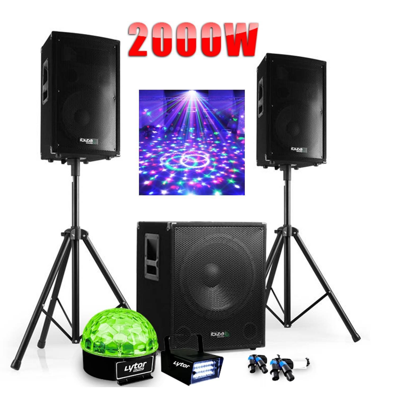 PACK SONO DJ 2000W CUBE 1512 avec CAISSON + ENCENTES + PIEDS + CABLES + Strobe + Sixmagic