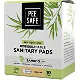 Pee Safe Organic Cotton, Biodegradable Sanitary Pads (Pack of 10, Regular)