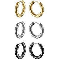 Oidea Orecchini cerchio Uomo Donna Acciaio inossidabile argento nero oro(3 coppie),dimensione a scelta