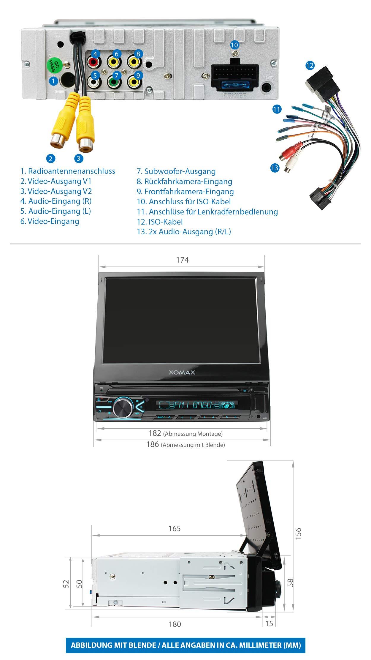 XOMAX-XM-V746-Autoradio-mit-Mirrorlink-I-7-Zoll-18-cm-Touchscreen-I-Bluetooth-Freisprecheinrichtung-I-RDS-I-SD-USB-AUX-I-Anschlsse-fr-Front-und-Rckfahrkamera-und-Lenkradfernbedienung-I-1-DIN