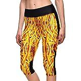 XNRHH Lady Digitaldruck Gelb Pommes Elastische Bewegung Eng 7 Punkte Yoga Hosen