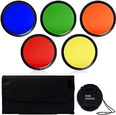 SHOPEE BRANDED 58mm Color Filter Set Lens Accessory Filter Kit Blue Yellow Orange Red Green + Lens Cap + 6 slot Case For Canon Rebel T5i T4i T3i T2i T1i T3 XSi XS Canon EOS 500D 400D 550D 650D 450D 350D 100D 700D 600D 1100D DSLR Camera with 18-55mm 70-300mm 75-300mm 55-250mm 28-105mm 70-210mm 100-300mm Lens
