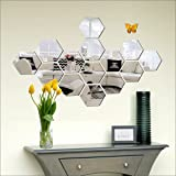 Look Decor® 14 Hexagon Silver with 10 Butterfly Golden (B07952FPCG) 3D Acrylic Mirror Wall Sticker Decoration for Kids Room/L