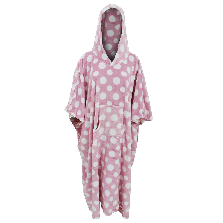 Robe de chambre poncho  pois et  capuche Femme Taille unique