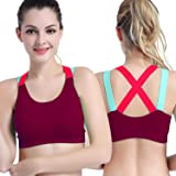 Fillory Women's Padded Full Coverage Quick Dry Padded Shockproof Racer Back Sports Bra with Removable Soft Cups for Gym…