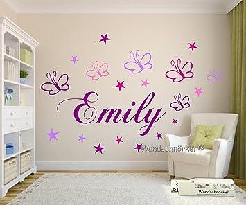 WANDTATTOO 223 Wandschnörkel® Kinderzimmer Mit Wunschnamen   In LILA  Kindernamen Inclusive Einem 19 Teiligen Set Schmetterlinge Und Sterne In  Vier Farben.