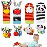 FancyWhoop Baby Rattle Neonato 8 Pezzi Sonaglio da Polso per Neonati e Calze Piedi Simpatici Animaletti Developmental Toys so