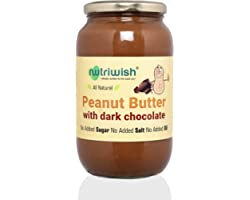 Nutriwish Peanut Butter with Dark Chocolate Bottle Unsweetened No Added Oil No Added Sugar No Added Salt 100 Natural, 1000 Gr