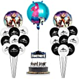 Fortnite Party Supplies Set Happy Birthday Cake Banners Topper Favors Foil Latex Balloons Video Game Theme Decorations Supply