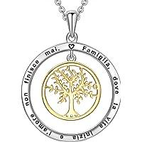 LOVORDS Collana Donna Incisa Personalizzata Argento Sterling 925 Pendente Ciondolo Albero della Vita Famiglia Cerchio…