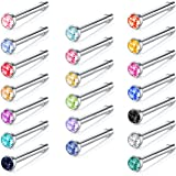 JFORYOU 16-20 Pcs Nose Studs Pin Set 18G 20G 316L Surgical Steel Nose Pin Nose Stud Nose Bar Nose Bone