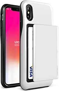 iPhone X Case, VRS Design [White] Protective Wallet Case with 2 Card Slot   Damda Glide   Supports wireless charging   Shockproof Dual layer phone cover for Apple iPhone X / iPhone 10
