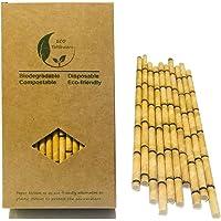 Lot de 100 pailles en papier bambou jaune pour remplacer les pailles en plastique, bambou écologique, 100 % organique