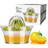 HomeTeck® 4 en 1 Presse Citron Manuel Presse Citron Presse-Agrumes, Plastique, Sans BPA, Tasse à Mesurer et Râpe Intégrées, E