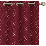 Amazon Brand - Umi Foil Printed Line Blackout Curtains Thermal Insulated Window Eyelet Curtains Bedroom Curtains for Living R