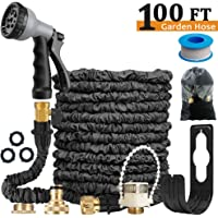 Expandable Garden Hose Pipe - Lightweight,Durable& Felxible -Bonus 8 Function Spray Gun/Hose Hanger/Storage Bag/Brass Fittings,Best Choice for Watering and Washing (100ft)