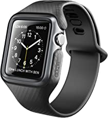 Clayco Apple Watch Band 42 mm, [Hera Series] Ultra Slim Protective Shock Resistant Bumper Case with Strap Bands for 42mm Apple Watch Series 3 2017/Series 2/Series 1 (Black)
