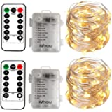 [2 Pack] BXROIU Fairy String Lights Battery Operated, Silver Wire Chains 8 Mode 5M 50 LEDs Timer Fairy Lights with…