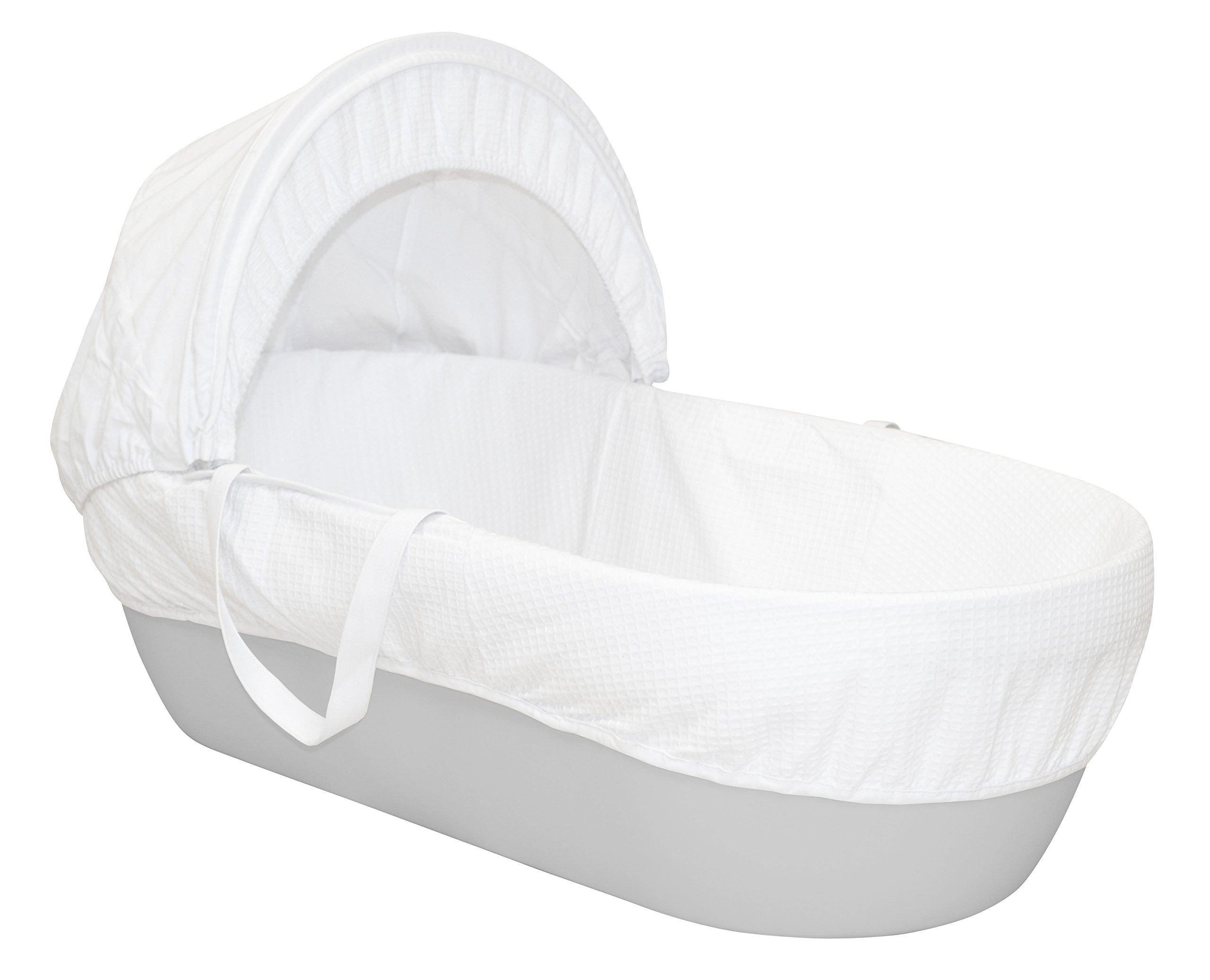 Shnuggle Moses Basket with White Waffle Cotton Dressing, Hood and Mattress - Pebble Grey Basket  Shnuggle Modern Moses Basket with stay up hood Hypoallergenic and easy to clean Super strong and long lasting 1