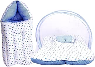 Fareto Baby Mattress with Mosquito Net and Sleeping Bag Combo, 0-6 Months (Blue)