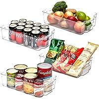EZOWare Panier de Rangement en Plastique, Grand Bacs de Rangement, pour Frigo, Réfrigérateur, Congélateur, Cuisine…