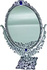 GosFrid Flower Embossed base Europien style Jewellery Mirror Double-Sided Normal and Magnifying Stand Mirror - 1 pc (color may very)