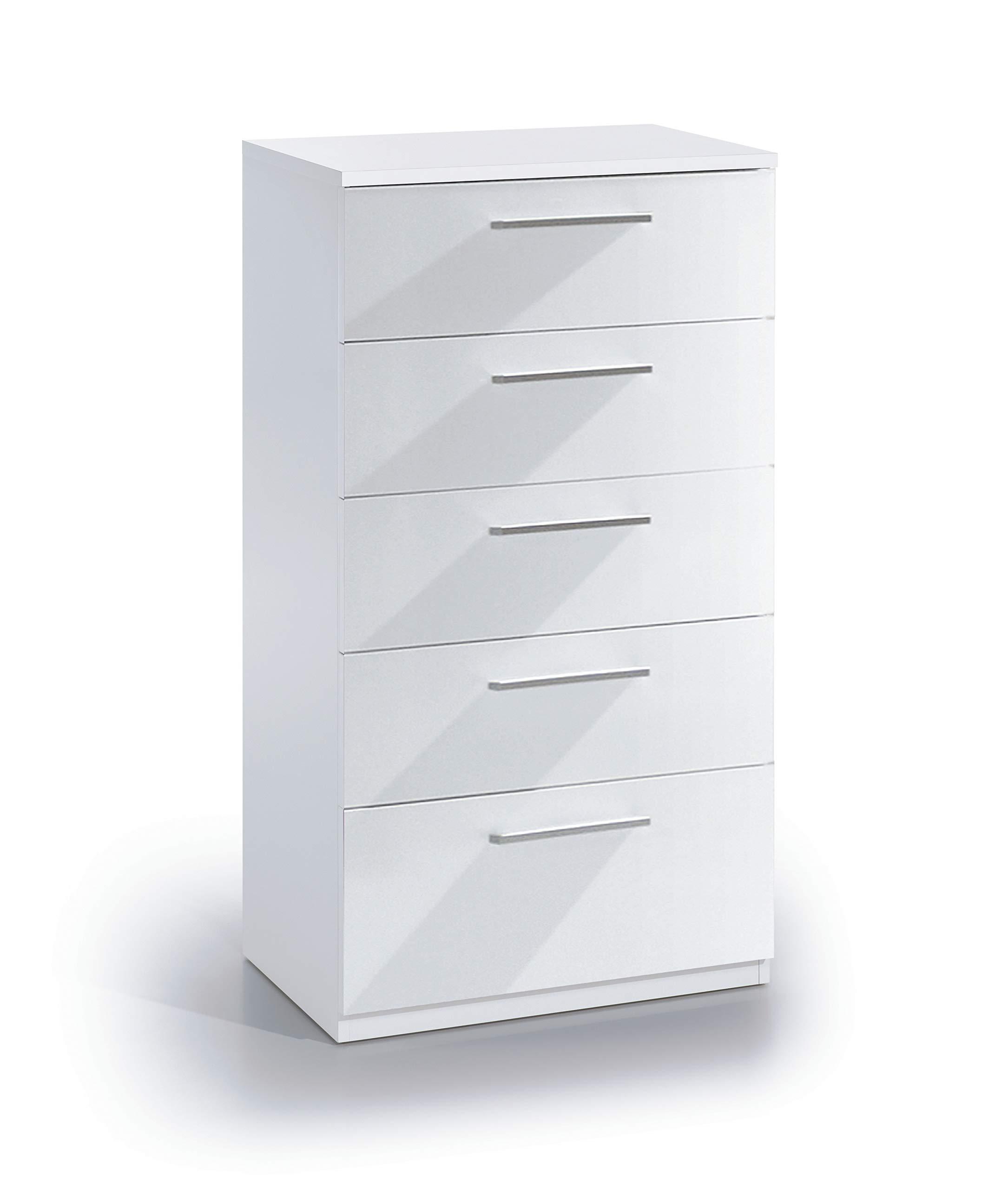 Cassettiere Bianco Lucido.Eglemtek Cassettiera Varsavia Con 5 Cassetti Como