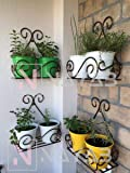NAYAB (Set of 4) Vintage Scrolled Wall Mounted Hanging Iron Small Plant Holder Stand Rack Without Pot Planters 27 x 14 x…