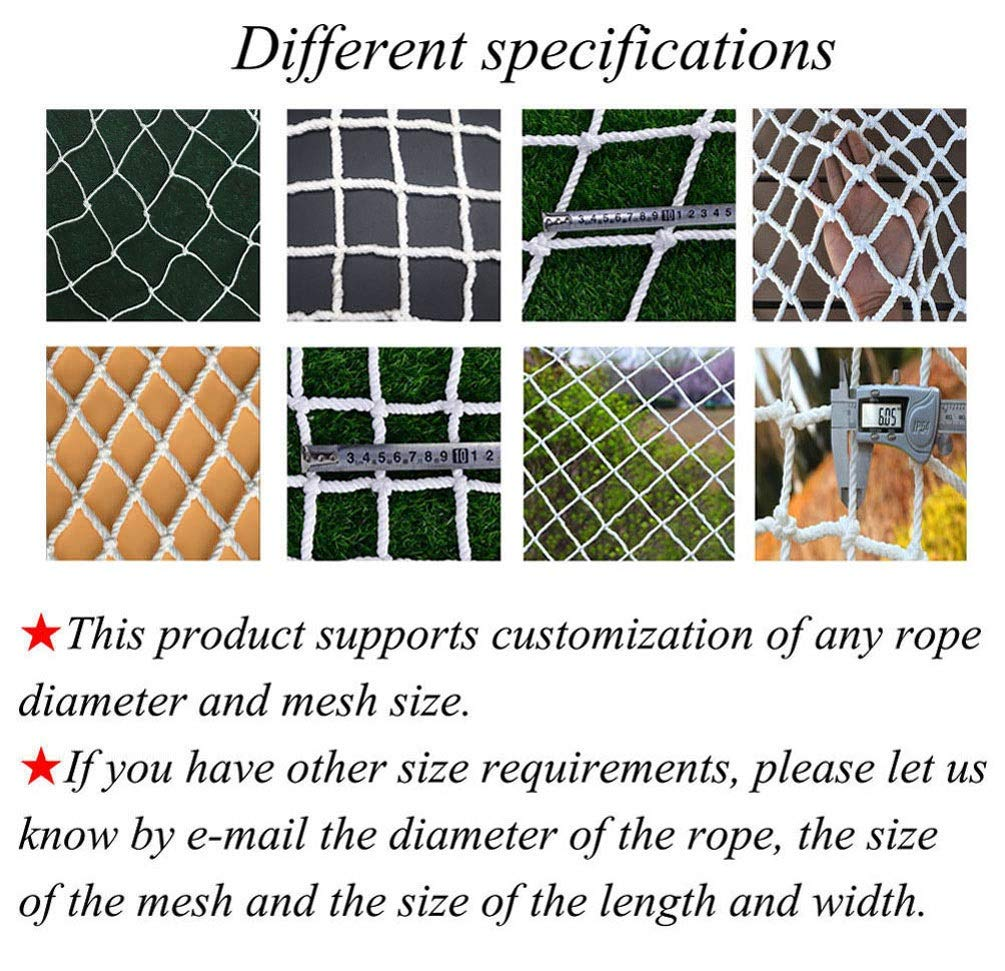 "Rope Net,Trellis Garden Netting Plant Climbing Decoration Fish Cargo Bird Mesh Child Safety Anti-fall Protective Folding Lattice Grid Replacement Goal Net,1*1m(3.3*3.3ft)-Larger Size,Customization XXN ❤The rope net has a diameter of 4 mm (5/32"") and a grid size of 3 cm (1.18""). The edge of the net is reinforced, the force is even, the pulling force is strong, anti-sun, anti-weathering, anti-rain. ❤The safety anti-fall net is suitable for balconies, stairs, construction sites, pets, children, trucks, gymnasiums, playgrounds, etc., to prevent objects from falling, and to ensure the safety of pets, children, etc. ❤Plant climbing growth net Strong support for pole green beans,peas,cucumbers,tomatoes,bitter melon,cukes,mini watermelons,cantaloupes,blackberry,herbs,using the plant trellis netting to avoid a ground contact, making them less prone to disease. 2"