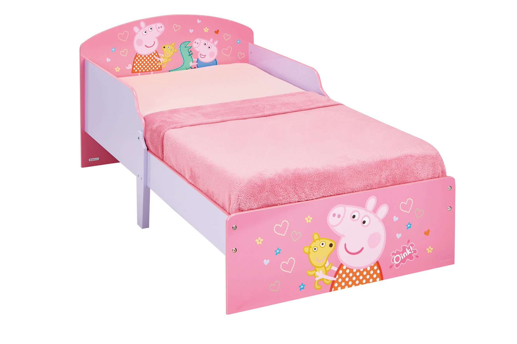 Peppa Pig Kids Toddler Bed by HelloHome Peppa Pig. Snuggle in after a day of play in this Peppa Pig Toddler Bed Perfect size for toddlers, low to the ground with protective and sturdy side guards to keep your little one safe and snug Fits a standard cot bed mattress size 140cm x 70cm, mattress not included. Part of the Peppa Pig bedroom furniture range from HelloHome 21