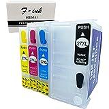 F-ink 4PK Lege navulbare inktcartridge vervanging voor 27XL en 27XXL inktcartridge - 4 kleuren (T2791 zwart, T2712 cyaan, T27