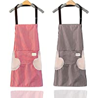 Adjustable Kitchen Apron, 2PCS Cooking Aprons with 2 Large Pockets, Chefs Aprons Waterproof Oil Proof Wiping Hands…