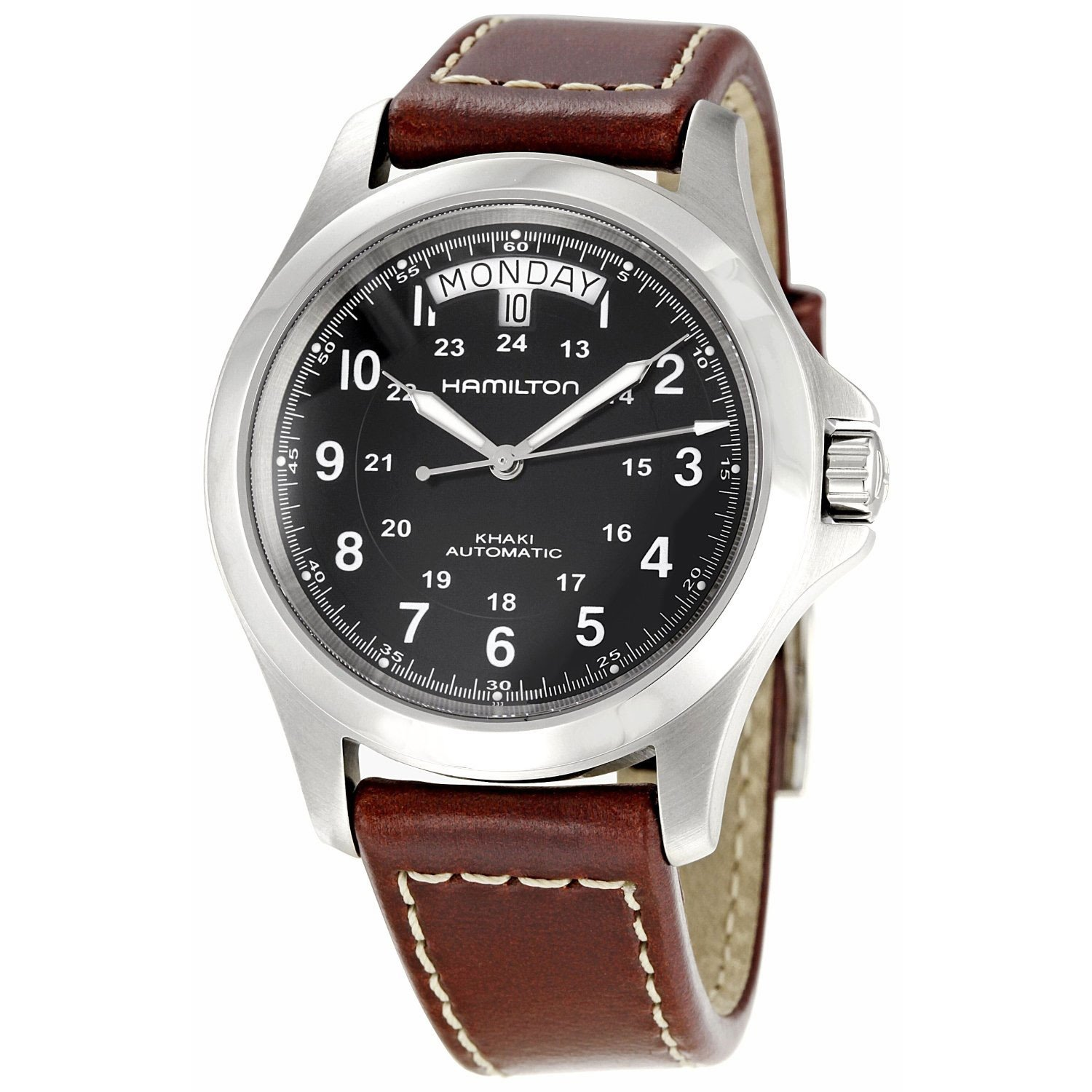 Hamilton Khaki King Series Men Automatic Watch with Black Dial Analogue Display and Brown Leather Strap H64455533