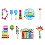 Kids Musical Instruments Set 8 Types 14pcs Wooden Percussion Instruments Toy for Toddlers Educational Musical Games...