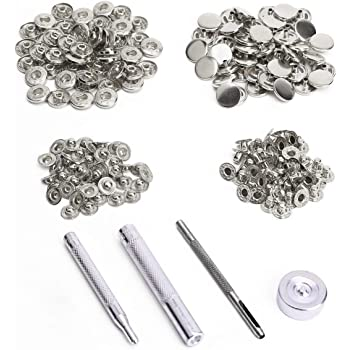 TOOGOO 50x Bouton Pression Metal Argente 15mm + Outil pour Cuir Maroquinerie fc1201270c2