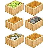 mDesign bac de rangement pour la cuisine – boite de tri écologique en bambou – casier de rangement polyvalent pour aliments,