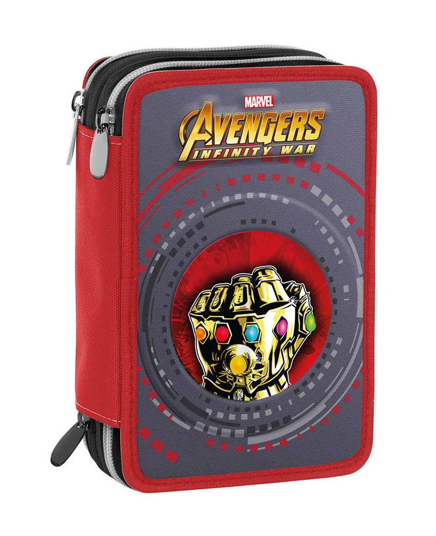 Estuche 3 Cremalleras Marvel Avengers Infinity War , Rojo Multicolor , Pisos con Contenido: Lápices, Rotuladores …