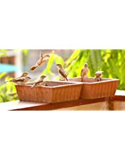 The Himalaya Craft Earthen Pot Terracotta Bird Bath, Earth Brown (9X9-Inch)