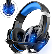 Gaming Headset für PS4 Xbox One PC, DIZA100 Gaming Kopfhörer mit Mikrofon, LED Light Bass Surround,Aluminiumgehäuse für Computer Laptop Mac Nintendo Switch Spiele - Blau