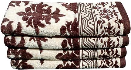 Mandhania Solitaire Premium 100% Cotton Velour Jacquard 500 GSM Set of 4 Hand Towels Set. (40 X 60cm.) - Brown