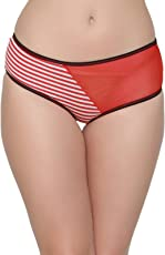 Clovia Women's Cotton Mid Waist Striped Hipster Panty with Powernet Panel