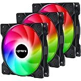 upHere 4Pin PWM 120mm Rainbow LED Ventilateurs de Boitier PC Silencieux,Pack Triple (SR12-CF4-3)