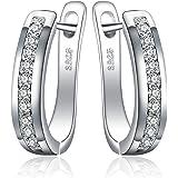 JewelryPalace Eternità Cubic Zirconia Matrimonio Huggie Orecchini a Cerchio Canale Set 925 Sterling Argento