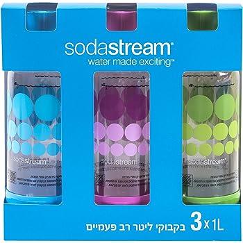 SodaStream 1 Liter x 3 Pack PET-Flaschen blau / grün / lila - neues design 2015