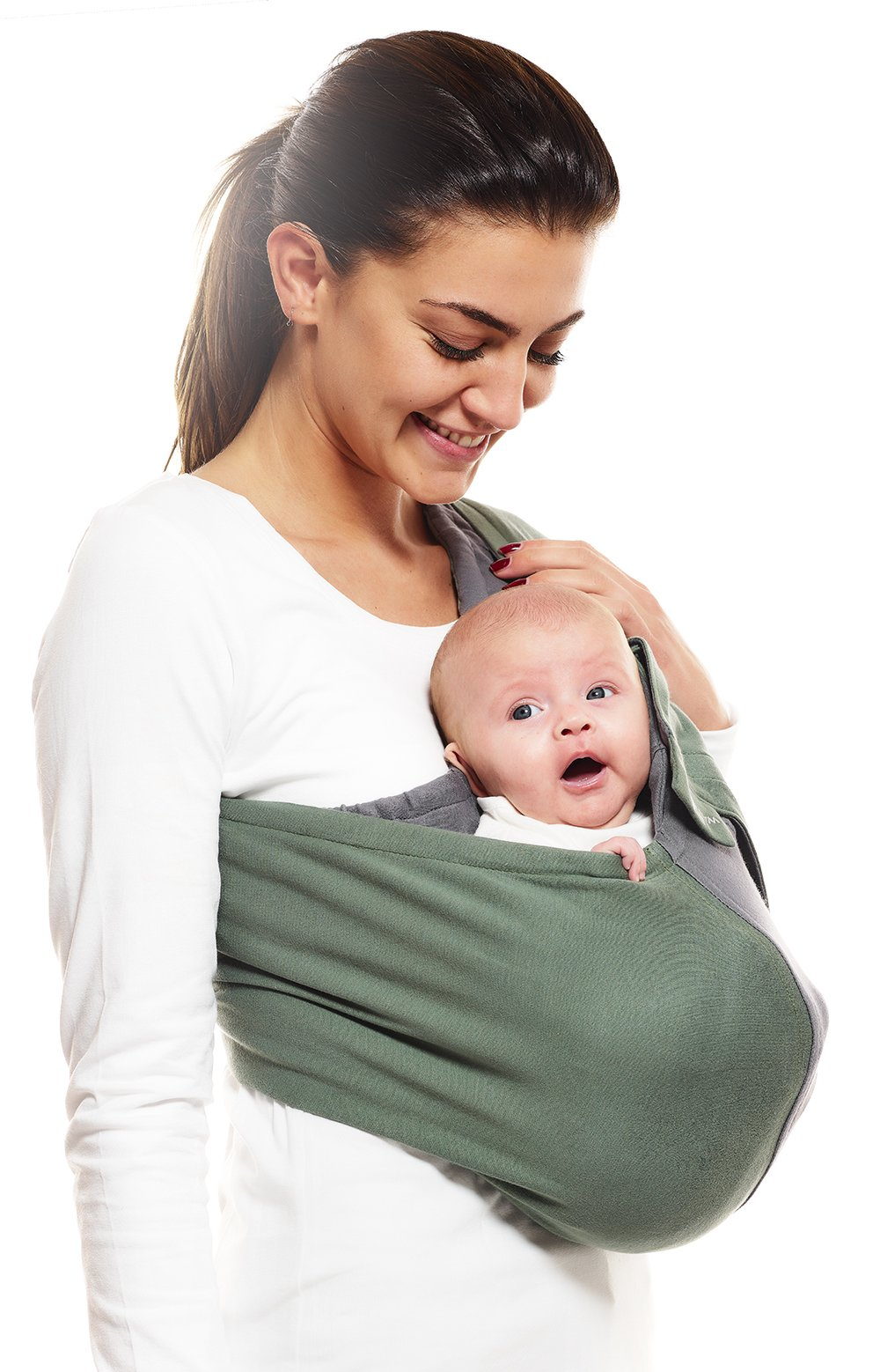 Wallaboo Wrap Sling Carrier Connection, Easy Adjustable, Ergonomic, 3 Carrying Positions, Newborn 8lbs to 33 lbs, Soft Breathable Cotton, 3 Sitting Positions, EU Safety Tested, Color: Green / Grey Wallaboo One size fits all, adjustable in size to fit every mum and dad Can be used for a preemie up to 33 pound child Keeps baby warm in 3 different positions: sleep, sit and active 1