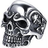 JewelryWe Gioielli Anello da Uomo Donna Acciaio Inossidabile Gotico Teschio Cranio, Colore Nero Argento(con Regalo Borsa),Per