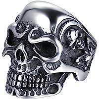 JewelryWe Gioielli Anello da Uomo Donna Acciaio Inossidabile Gotico Teschio Cranio, Colore Nero Argento(con Regalo Borsa…