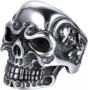 JewelryWe Gioielli Anello da Uomo Donna Acciaio Inossidabile Gotico Teschio Cranio, Colore Nero Argento(con Regalo Borsa),Personalizzato
