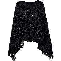 Poncho da donna con scollo a V forma triangolare Capo di lana morbida rifinito con frange di col. Nero marchio…
