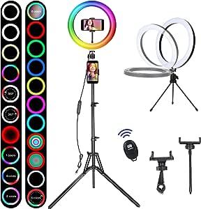 Kamera & Foto Blitzgerte 10,2 LED Ringlicht mit Stativ Handy ...
